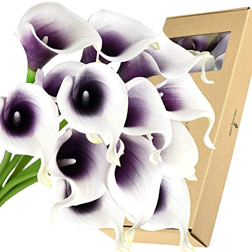 FiveSeasonStuff Real Touch Calla Lilies Artificial Flowers Wedding Bridal Bouquet Home Décor Party  Floral Arrangments   15 Stems (Silk White & Abyss Purple) (Silk Wedding Bouquets Purple)