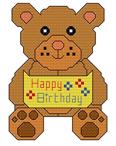 - Happy Birthday Teddy Bear Cross stitch chart/ pattern - Whole, Half and backstitch used: Suitable for putting in card, frames, using in a larger design