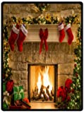 Home Fashions design Fleece Blanket Throw 58'' x 80'' (Large) Size with Peaceful Christmas Eve Fireplace Background