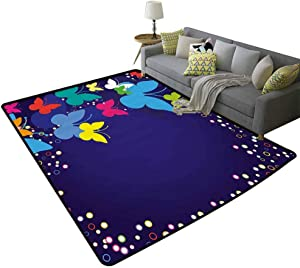 Nature Rug Pad Modern Design with Rainbow Butterflies Bubbles Dots in a Frame Like Image Artwork All Season General Multicolor, 3'x 5'(90x150cm)