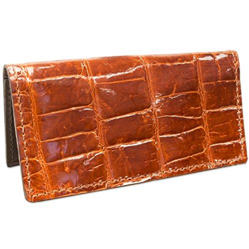 American Genuine Handmade Checkbook Alligator Cover Alligator Cognac Checkbook Leather Leather Genuine American FrRFpnqZB