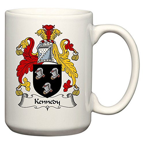 Kennedy Coat of Arms / Kennedy Family Crest 15 Oz Ceramic Coffee / Cocoa Mug by Carpe Diem Designs, Made in the U.S.A.