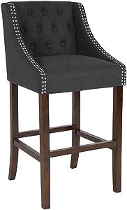 """Flash Furniture 30"""" Charcoal Fabric/Wood Stool, Black,Walnut"""