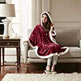 Comfort Spaces - Glimmersoft Plush Hooded Angel Throw Wrap - Wearable Blanket - 58x72 inches - Red, Sherpa Trim - Gift Box