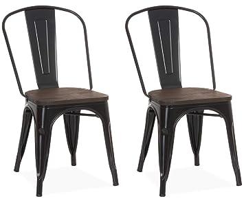 Chaise Design Industriel LIVERPOOL Noir Lot De 2