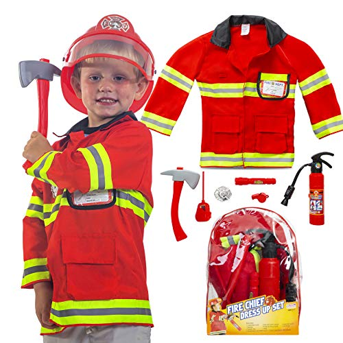 Next Milestones Firefighter Costume for Boys and Girls 9 Pieces Pretend Play Set for Kids - Fireman Toys Include Axe, Helmet, Jacket, Fire Extinguisher, Flashlight, Walkie Talkie, Badge and More]()