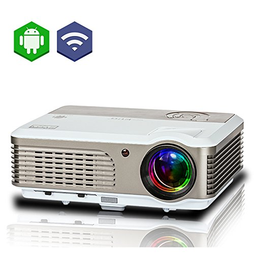 EUG Wifi Projector 1080p Support HDMI USB VGA Audio in/out 2600 Lumen LED LCD Android Home Projectors Wireless for iPad iPhone Cellphone