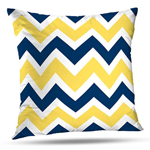 KJONG Navy Blue And Yellow Chevron Pattern Zippered Pillow Cover,18X18 inch Square Decorative Throw Pillow Case Fashion Style Cushion Covers(Two Sides Print)]()