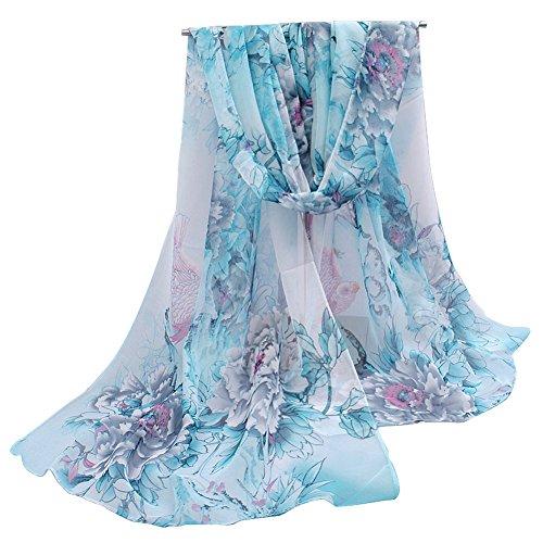 (Herebuy - Unique Women's Floral Scarves: Chiffon Flowers & Birds Printed Scarf (Light Blue))