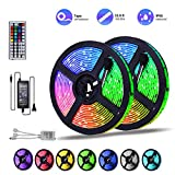 DDeLi LED Strip Lights Waterproof 32.8ft 5050 RGB 300led Strips Lighting Flexible Color Changing with 44 Key IR Remote Ideal for Home Kitchen Christmas TV Back Lights DC 12V 5A