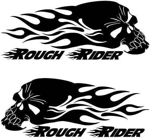 2 Stück Rough Rider Aufkleber Skull Mit Flammen Motorradtank Aufkleber Autoaufkleber Auto
