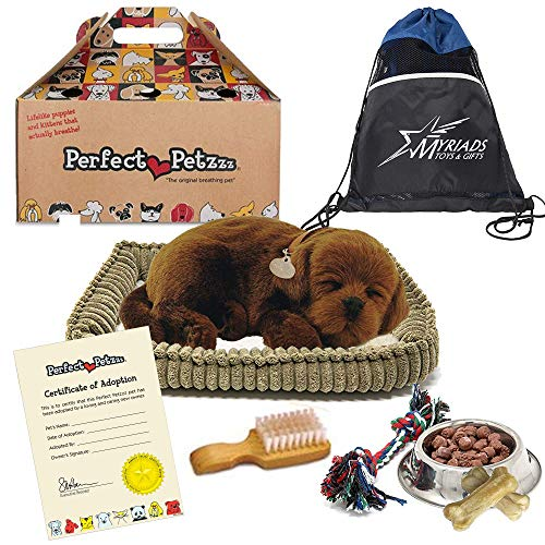 Perfect Petzzz Plush Chocolate Lab Breathing Puppy Dog with Dog Food, Treats, and Chew Toy Includes Myriads Drawstring Bag