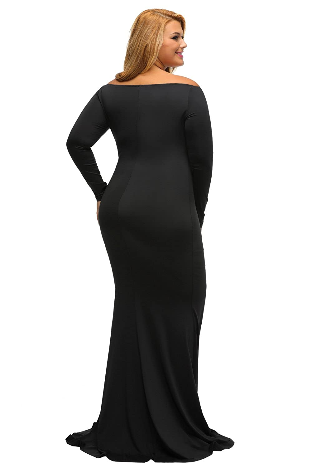 fffc6cb3bba Lalagen Women s Plus Size Off Shoulder Long Sleeve Formal Gown at Amazon  Women s Clothing store