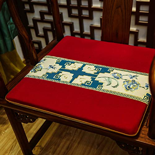 JYTT Luxurious Bench Chair Cushion Non Slip Chinese Style Thickened Seat Cover Dining Chair Embroidered Office Seat Pad Seat Cushion Floor Couch Chair Chair Pads Chair Cover Cotton Craft-f 45x38x3cm (Embroidered Chair Pads)