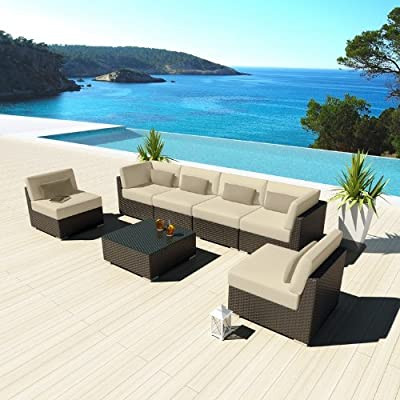 Uduka Outdoor Sectional Patio Furniture Espresso Brown Wicker Sofa Set Daly 7 Light Beige All Weather Couch