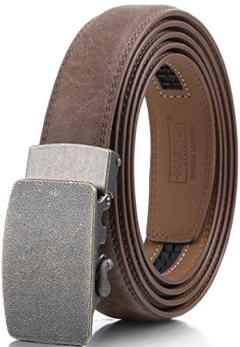 Marino Men's Genuine Leather Ratchet Dress Belt With Automatic Buckle, Enclosed in an Elegant Gift Box - Walnut - Style 159 - Adjustable from 28