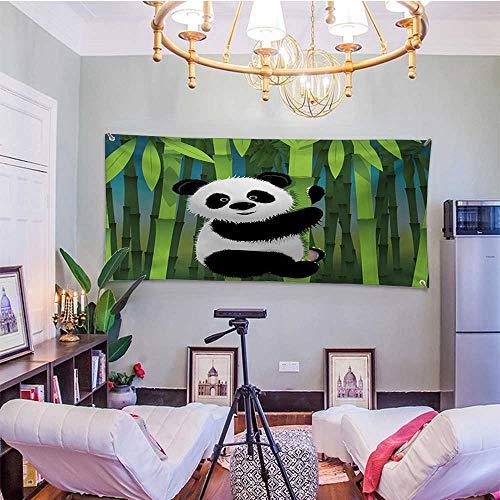 WilliamsDecor CartoonDormitory Tapestry Curious Baby Panda on Stem of The Bamboo Bear Jungle Wood IllustrationBedroom Tapestry 91W x 60L InchFern Green Black ()