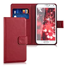 kwmobile Elegant synthetic leather case for the Samsung Galaxy S5 / S5 Neo / S5 LTE+ / S5 Duos with magnetic fastener and stand function in dark red