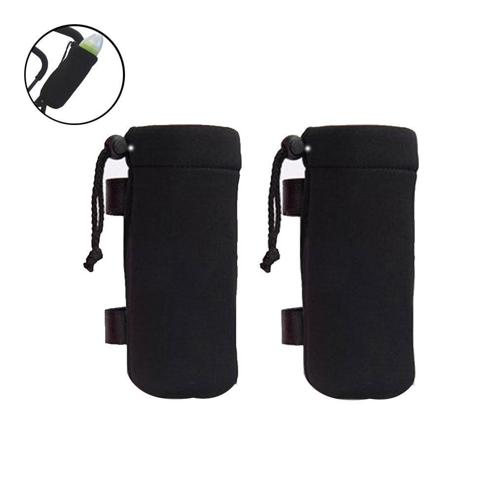 AOLVO Stroller Baby Bottle Insulated Bag, Portable Baby Water Milk Bottle Insulated Sleeve Cover for Pram Stroller Wheelchairs, Black