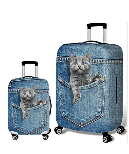 Cute 3D Elastic Travel Rolling Suitcase Dust-proof Case Washable Baggage Covers Luggage Protective Cover 20/24/28'' (cat-4, M (22''-24'' luggage))