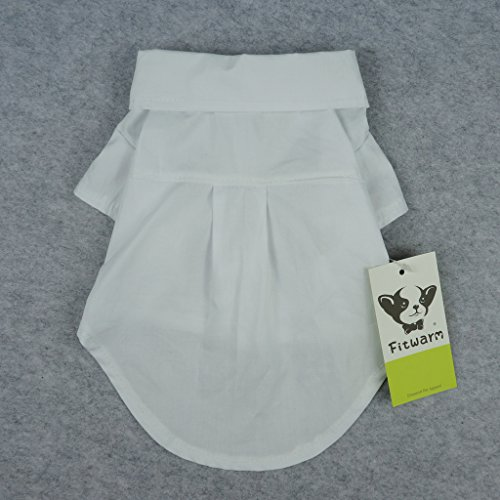 Fitwarm Pet Wedding Clothes Formal Tuxedo White Shirts for Dog with Bow tie White XL by Fitwarm (Image #5)