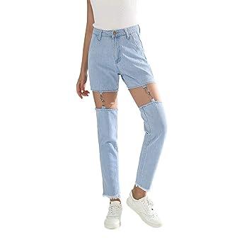 Modely Mode lässig Baumwolle hohe Taille weibliche Damen Denim Frauen Hosen Jeans Boyfriend Jeanshose Zerrissen Röhre Loch De