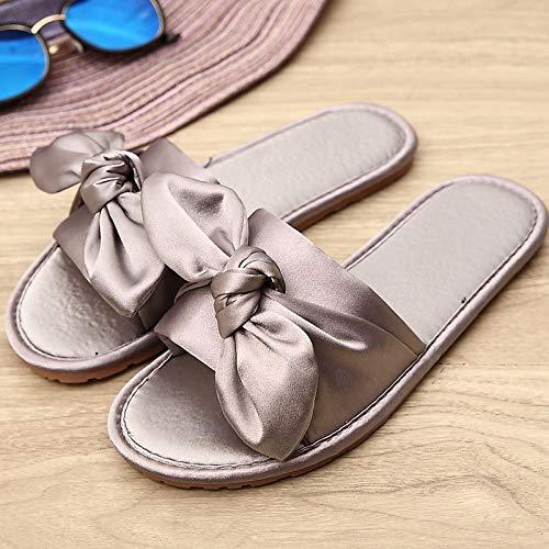 Hong In Da Grey Sandali 38 Donna 35 Antiscivolo Pantofole 36 Jia 37 Fiocco La Traspirante Pantofole Casa Raso Per grey Af1Twq
