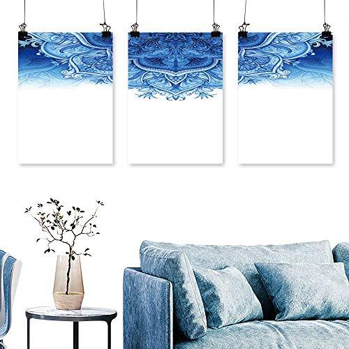 SCOCICI1588 3 Panel Canvas Wall ArtRetro Vintage wed Greet car Blue backgroun car or Invitation Artwork for Wall Decor Triptych 12 INCH X 16 INCH X -
