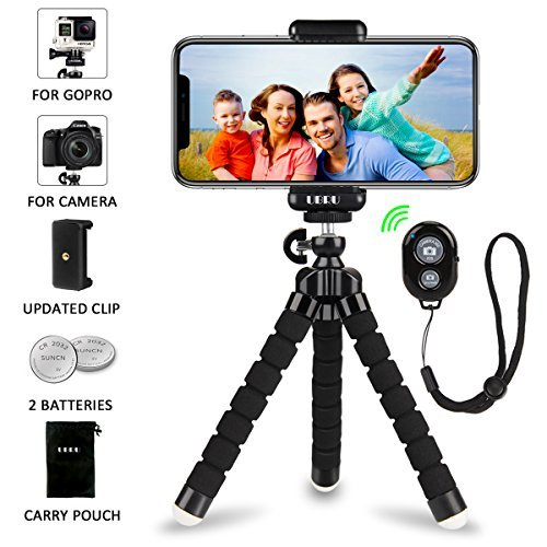 iPhone Tripod Phone Tripod, UBRU Tripod for iPhone Stand with Bluetooth Remote Camera Shutter Remote Shutter Release and Universal Clip for Android iOS Smartphones Camera Sports Camera Gopro etc.