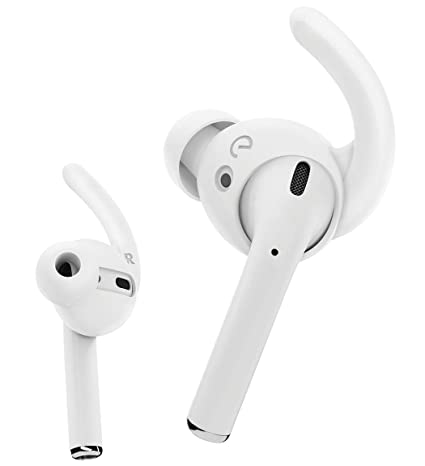 Ear Buddyz Ultra Ear Hooks And Covers Compatible With Apple Air Pods 1 & Air Pods 2 Or Ear Pods Featuring Bass Enhancement Technology (Medium, White) by Keybudz