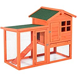 "Pawhut 48"" Wooden Rabbit Hutch w/Ladder and Outdoor Run - Orange"