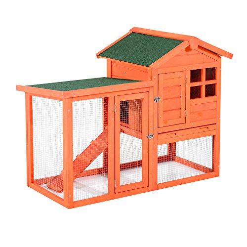 Pawhut 48'' Wooden Rabbit Hutch w/Ladder and Outdoor Run - Orange by PawHut