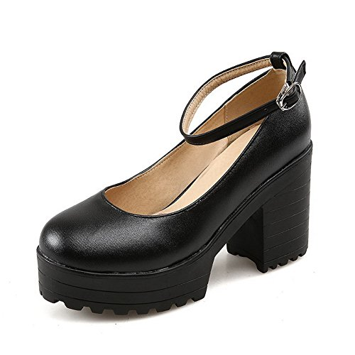 Tacchi Chiusa Fibbia Pompe shoes Amoonyfashion Sottolineato Punta Pu Solidi Nero Donne Delle FFaqYX
