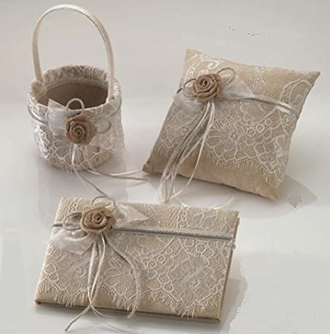 Juego cojín para anillos - alianzas, cesta arras/pétalos y libro firmas encaje y flor rústica