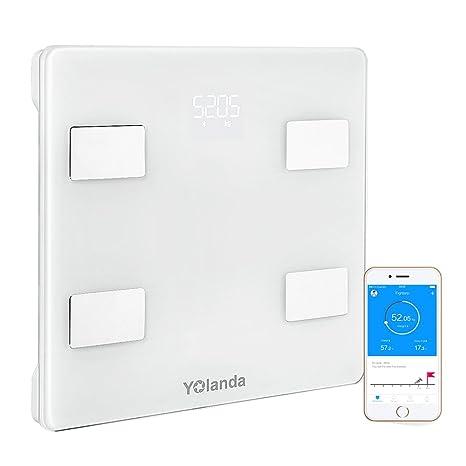 Yolanda Báscula Grasa Corporal Electrónico Báscula de Baño Digital Control por medio de APP y Bluetooth