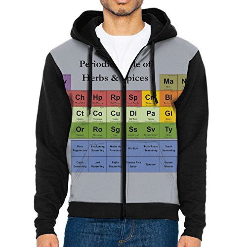 Uyilp Mens Periodic Table Of Chemical Elements Fashion Casual Athletic Long Sleeve Crew Sweatshirt Zipper Hoodie Pockets