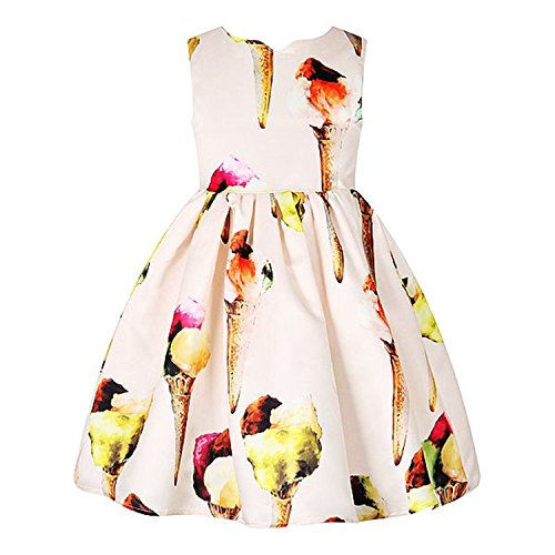 Dwarf Costume Australia (Huaqiang fashion NEW Girls Summer Dresses Ice Cream Print Costumes for Kids Clothes Children Princess Dress as photo 4T)