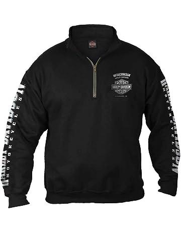 b7deea265 Harley-Davidson Men's Lightning Crest 1/4 Zip Cadet Pullover Sweatshirt,  Black