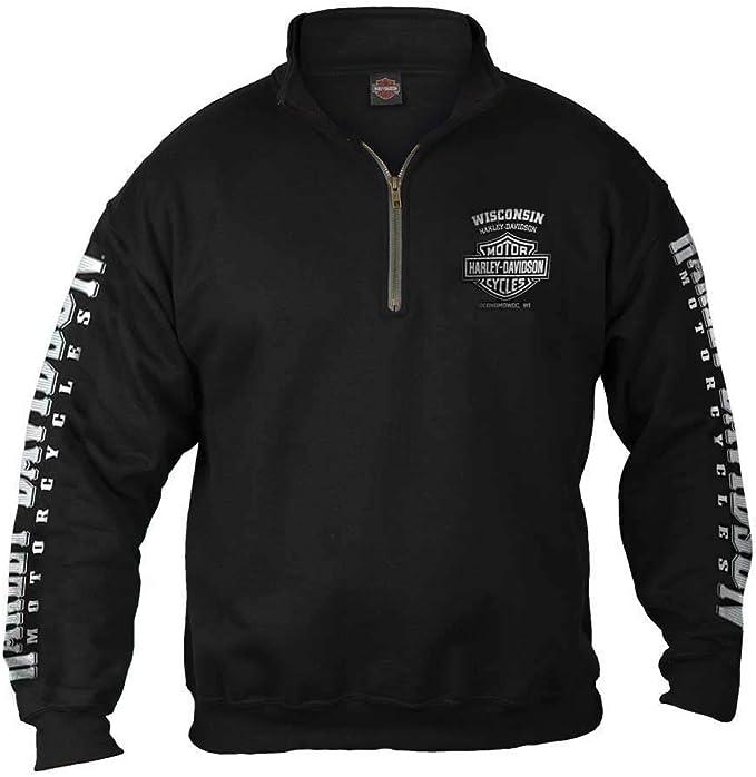 Harley-Davidson Men's Lightning Crest 1/4 Zip Cadet Pullover Sweatshirt