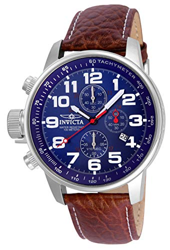 - Invicta Men's 3328 Force Collection Stainless Steel Left-Handed Watch with Leather Band, Brown/Blue Dial