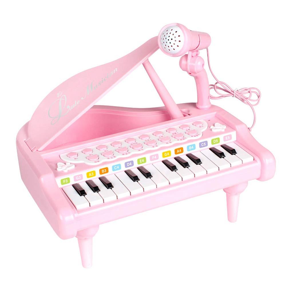 rose XXHDYR Microphone bébé Jouet Piano Fille Piano débutant partitions 3-6-12 Ans avec bébé Enfants Clavier Piano éducation précoce Piano à Clavier pour Enfants (Couleur   rose)