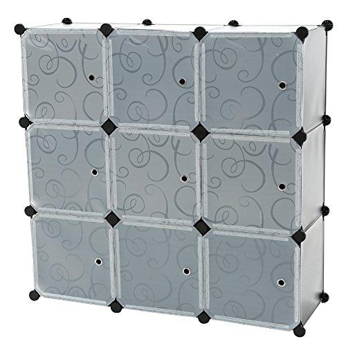 C&AHOME - 9 Cube Storage Organizer DIY Bookcase Shelf Toy Rack with Doors, Black Book Return Unit