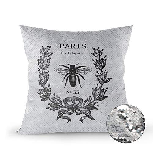 "Reversible Sequins Mermaid Pillow Cover, 24""x24"" Decorative Square Throw Cushion Cover Pillow Case Sham, Paris Rue Lafayette Bee Wreath"
