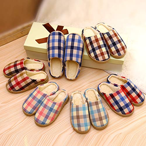 A Hautfreundlich größe Boden Herren B Indoor Winter Plaid Cotton Paar Home Slippers AMINSHAP Hausschuhe Living Home 42 Comfort 44EU Farbe Home Day 0STTqw