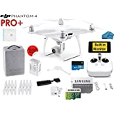 DJI Phantom 4 PRO Plus Quadcopter Drone with 1-inch 20MP 4K Camera KIT with Built In monitor, 32GB Micro SDXC Card, Reader 3.0 and Must Have Accessories