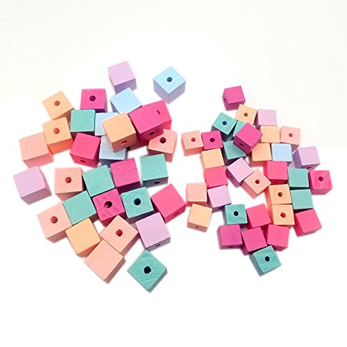 - MEOLY 100pcs Colorful Wooden Beads Multicolor Mixed Wooden Lacing Beads Square Pinkycolor Wood Beads for DIY Kids Craft Project (15mm)