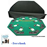 Folding Wooden Poker & Blackjack Table Top With Carrying Bag, Eight Player Positions, Drink Holders & Chip Trays & Free eBook Home Décor