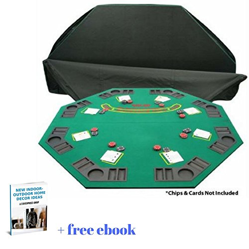Folding Wooden Poker & Blackjack Table Top With Carrying Bag, Eight Player Positions, Drink Holders & Chip Trays & Free eBook Home Décor by afDesign