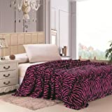 Plazatex Animal Prints MicroPlush Zebra Queen Blanket Pink & Black