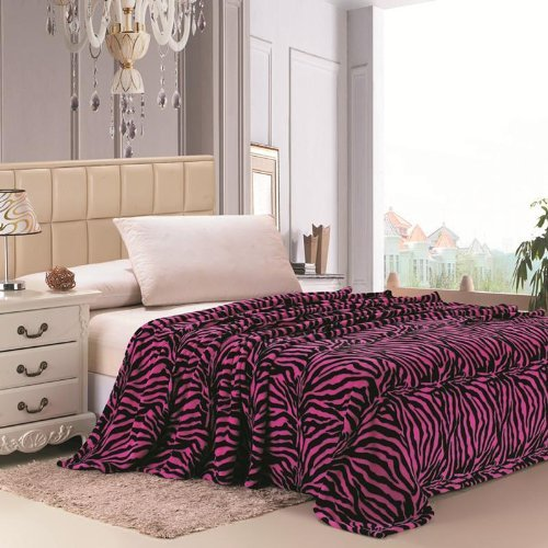 Plazatex Animal Prints MicroPlush Zebra Queen Blanket Pink & Black